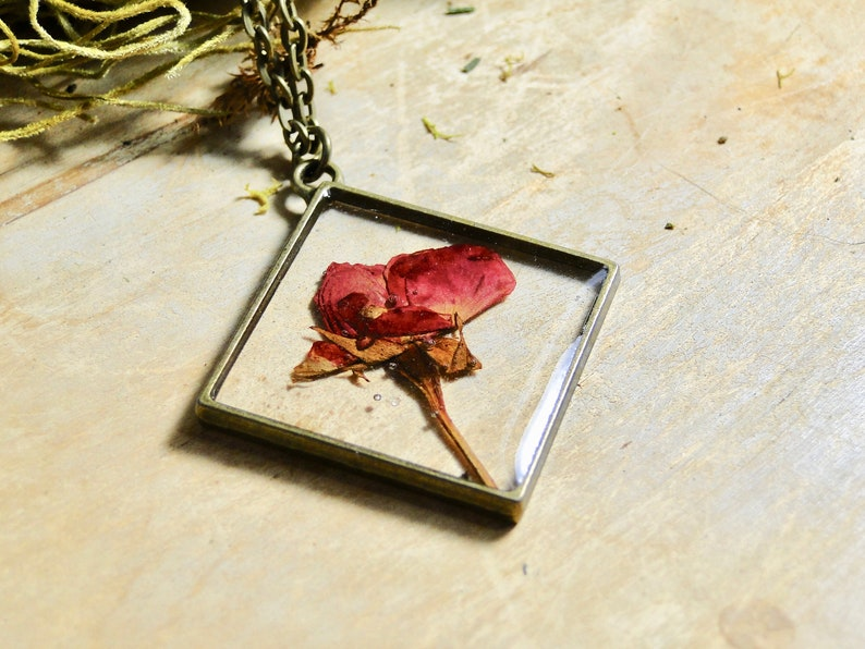 Real Carnation Flower Necklace brass flower necklace real image 0