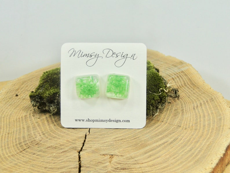 Real Moss Earrings  Green Moss  Botanical Jewelry  Pressed image 0