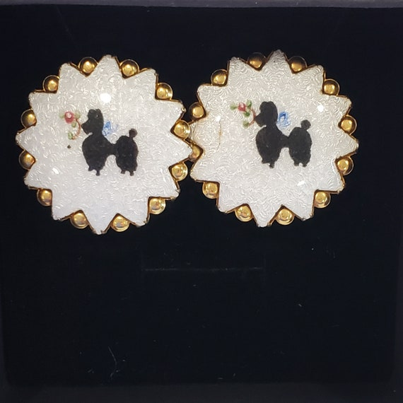 Vintage Guilloche Poodle Earrings