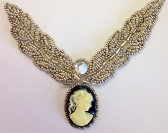 Cameo Collar Silver Seed Beads Vintage