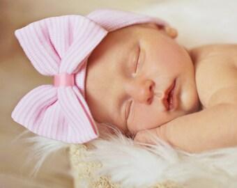 Newborn hospital hat, girls hospital hat, newborn hospital hat, newborn hospital hat with bow, baby hat