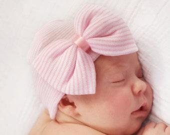 c866cd57e Newborn hat pink bow | Etsy