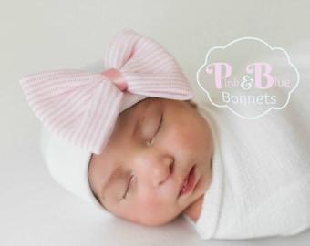 99ef55b42b6 Newborn hat with bow