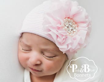 75732cc941e Newborn Hat with Flower in Mint Newborn hospital hat with Bow coming home  Baby girl hat shabby Chic baby hat baby girl hospital hat - Mint
