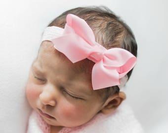 Pink Baby girl Headband, first newborn girl headband, baby girl Headband, white baby Headbands, newborn girl Headband,