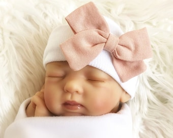 Newborn WINTER HAT with bow for baby girls 2226d0a05349