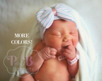 Pink Newborn Hat For baby Girls Newborn Hat with bow Newborn Baby Girl hat hospital baby hat pink striped hat pink newborn hat with bow