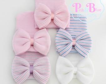 Girls newborn hospital hat, girls hospital hat, newborn hospital hat, newborn hospital hat with bow, baby hat