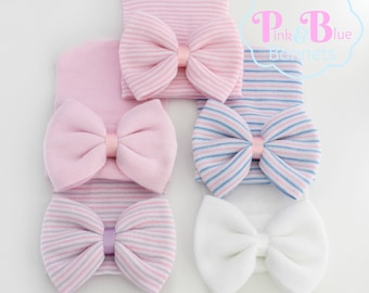 Newborn Hospital Baby Girl bow or Baby Little sister hat - baby girl bow infant girl hat, infant girl hat, baby hat, hats