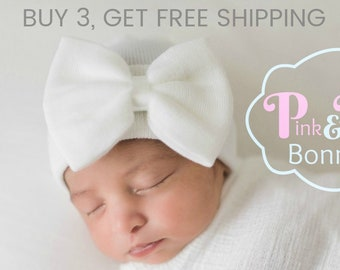 Baby Girl Newborn Hat with bow Newborn Baby Girl Hat baby hat hospital baby  hat white hat white newborn hat with bow newborn baby girl hat 5794dbff74d