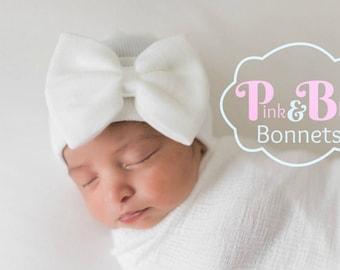 Baby Girl Newborn Hat with bow Newborn Baby Girl Hat baby hat hospital baby hat white hat white newborn hat with bow newborn baby girl hat