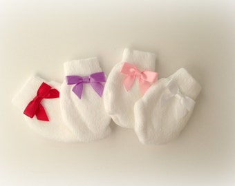 Set of 6 Newborn Baby Girl scratch guard mittens Infant girl pink bow mittens