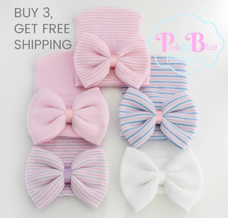 485555bf9ce Infant Hospital Hat Bow Baby Girl Hospital Hat Beanie with Bow