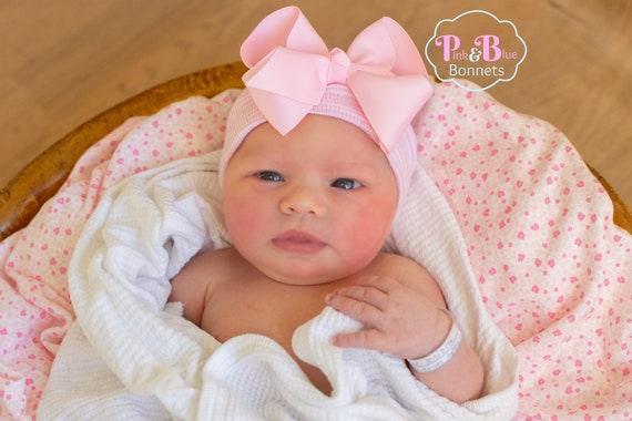 55a28e70737 Baby Hospital hat with Bow newborn hat with bow newborn