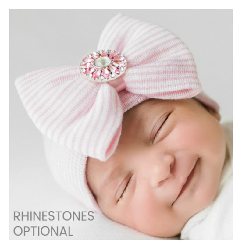 e3b68ab7965 Newborn hospital hat baby hospital hat bow girl hospital hat