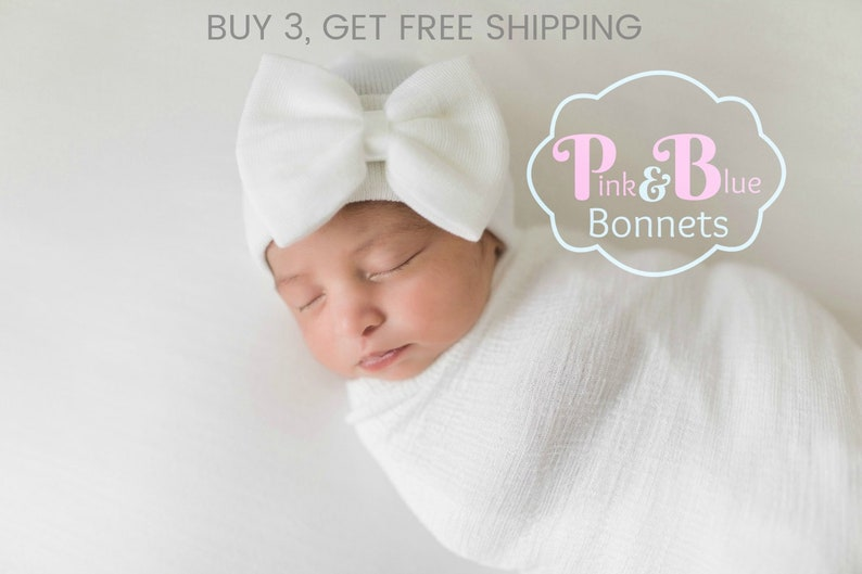 Baby Girl Newborn Hat with bow Newborn Baby Girl Hat baby hat  f1c8fa09092a