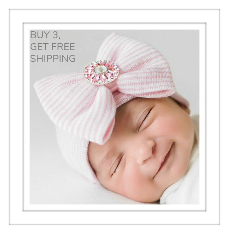 Baby girl hospital outfit Newborn girl hospital hat with bow  0c382c53a9c1