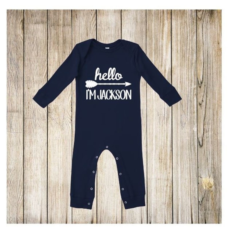 0ae68da8c Custom Name Baby Boy Coming Home Outfit. Personalized First