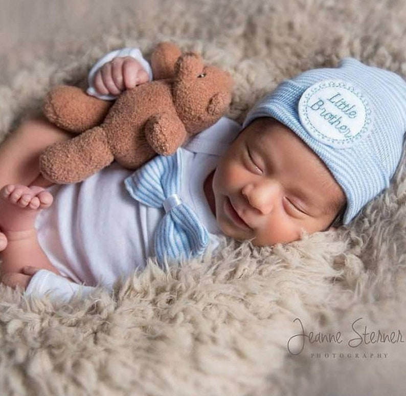 945de7cac Hospital hat for newborn baby boy Little brother baby hat