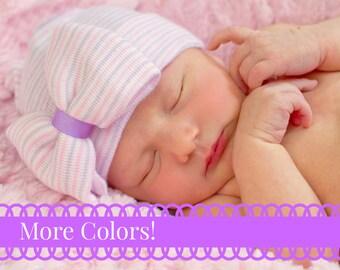 Newborn Hat Baby Girl Newborn Hat with bow Newborn Baby Girl Hat baby hat hospital baby hat pink striped hat pink newborn hat with bow