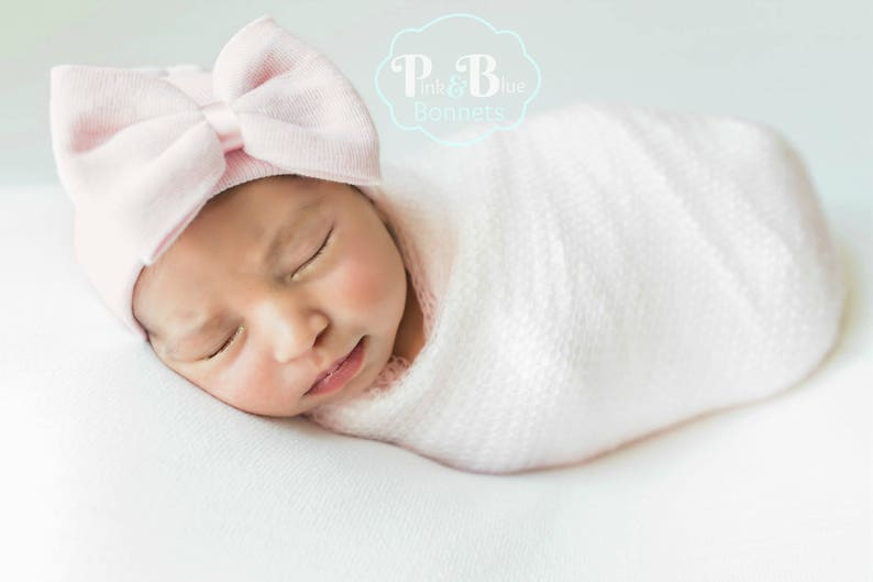fbb9549c773f Pink Infant Hospital Hat Bow Baby Girl Hospital Hat Beanie