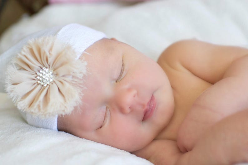 Peach Baby Hospital Hat with Bow for Baby Girl Hospital Hat Beanie with Bow newborn hospital hat with Flower hat newborn girl hospital hat