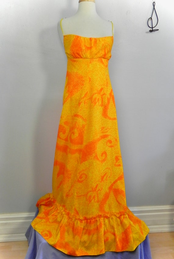 Vintage Halter Dress , Tropical 60s Yellow and Ora