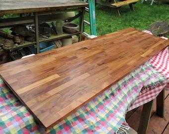 """Butcher Block Walnut  Desk ,6ft- long ( 72"""" long) x 25""""w ,walnut counter top /desk  or coffee table?,  kiln dried Walnut , gorgeous AA Wood."""