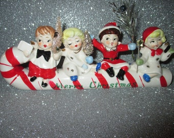 vintage commodore kids on candy cane merry christmas figurine 1950s christmas decoration made in japan