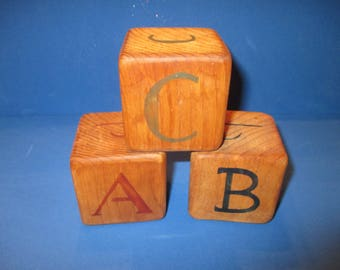 Vintage Wooden Blocks, ABC, Philippines, 1980's, craft project