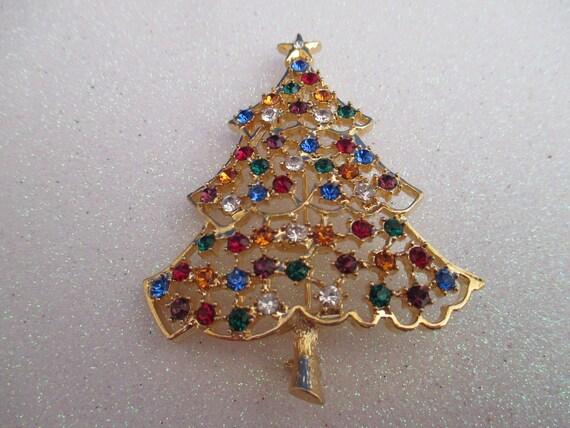 image 0 - Vintage Eisenberg Christmas Tree Pin Holiday Rhinestone Etsy