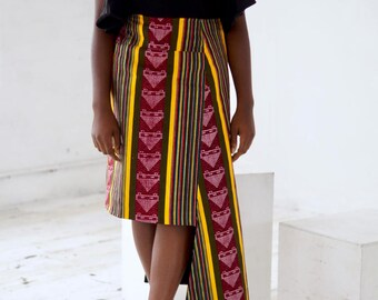 RESERVED FOR ETSY Zendama Fit And Flare Ankara Skirt With Asymmetric Hem