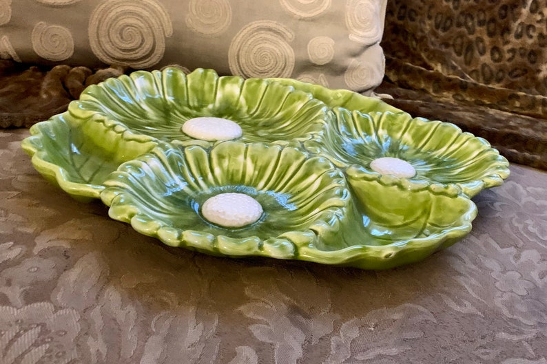 Daisy Platter 1960s Santa Anita Ware Glazed Ceramic Chip N Dip Calif Santa Anita Sunflower Lazy Susan USA California Pottery