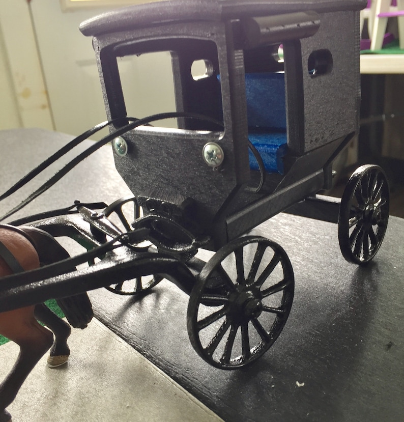 Amish BUGGY and Hanoverian Horse w/Leather Harness and Lines Kids &  COLLECTORS, Replica MINIATURES