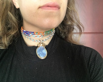 Wire Wrapped Blue Chalcedony