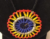Beaded medallion  necklace