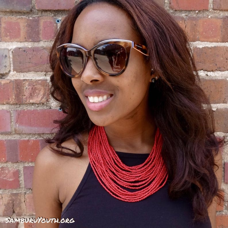 Red multi-strand necklace image 0