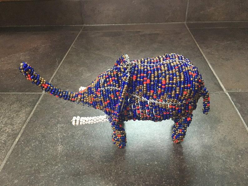 Beaded Elephant by Samburu Kenya artisan image 0