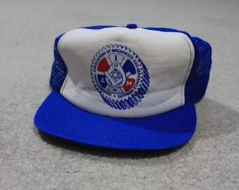vintage 80s International association of machinists snapback hat cap made  in usa 106f0284188c