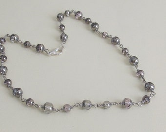 Violet Links Necklace, beaded silver necklace, beaded necklace, silver necklace