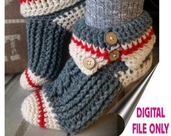 3a0424fb46a PATTERN ONLY Crochet Sock Monkey Slippers