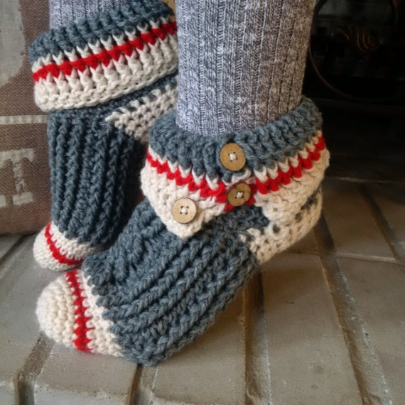 Pattern Only Crochet Sock Monkey Slippers Etsy