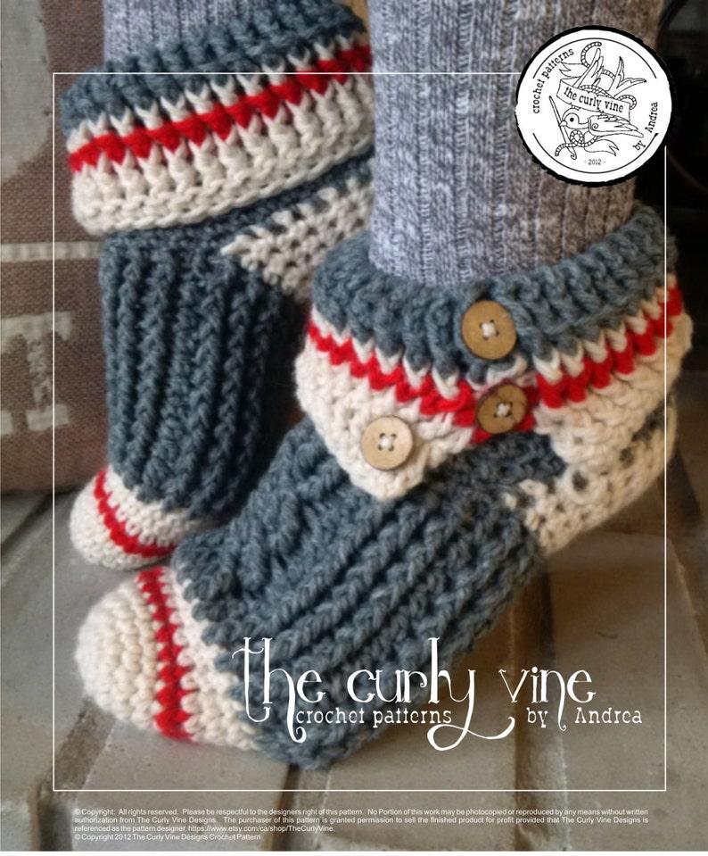 ebbcb8148 PATTERN ONLY Crochet Sock Monkey Slippers