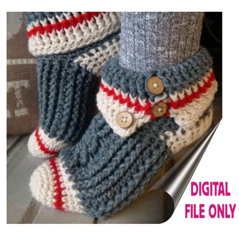 b55687d05 Sock Monkey Slippers PDF Crochet Pattern | Etsy
