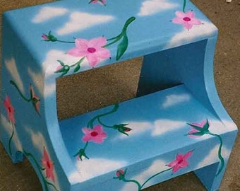 flowers and clouds step stool, hand painted step stool, kids painted step stools
