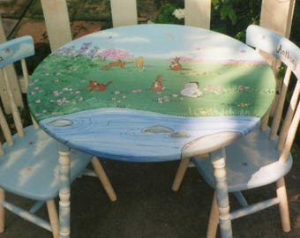 kids table and chairs pooh table and chair set hand painted kids tables hand painted furniture childrenu0027s table and chair sets & pooh table and chair set hand painted kids table set | Etsy