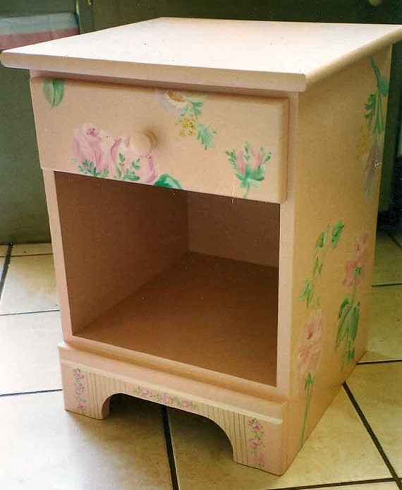 hand painted night stand, girls bedroom furniture, painted night stand