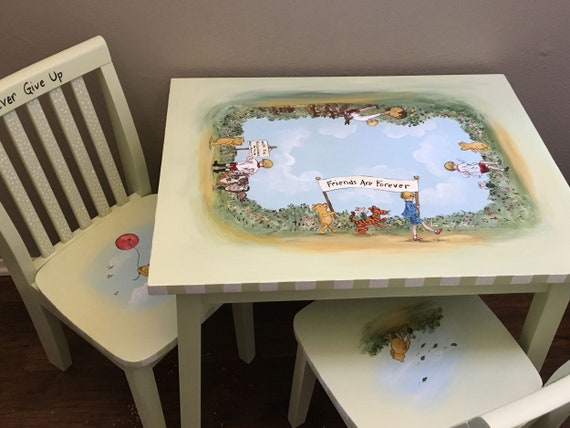 Superb Childs Table And Chairs Kids Painted Table Sets Pooh Bear Table Set Hand Painted Kids Furniture Andrewgaddart Wooden Chair Designs For Living Room Andrewgaddartcom