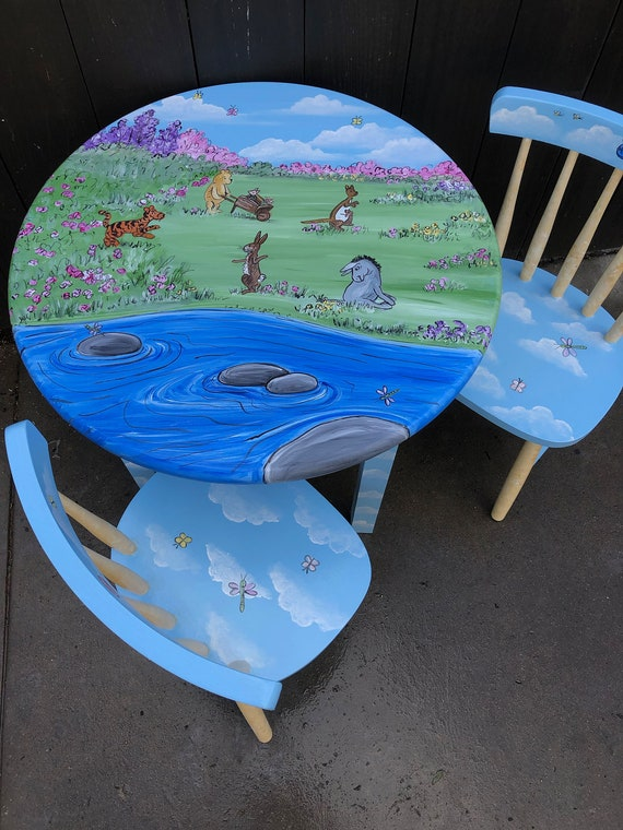 Pleasant Pooh Table And Chair Set Hand Painted Kids Table Set Childrens Painted Furniture New Baby T Andrewgaddart Wooden Chair Designs For Living Room Andrewgaddartcom