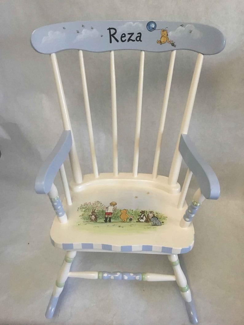Pooh Bear Rocker Hand Painted Rocking Chair Kids Rocking Chair Hand Painted Furniture